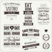 набор элементов винтаж дизайна свадебные приглашения — Cтоковый вектор