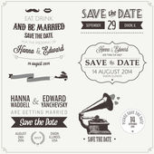 Set of wedding invitation vintage design elements — Vector de stock