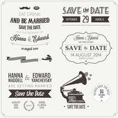 Uppsättning bröllop inbjudan vintage designelement — Stockvektor