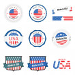 made in usa labels, badges and stickers — Stock Vector