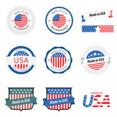 Gemaakt in usa etiketten, insignes en stickers — Stockvector