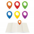 Set of glossy colorful map pins — Stockvectorbeeld