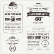 Set of adult birthday invitation vintage design elements - Stock Vector