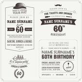 Conjunto de elementos de diseño vintage de invitación de cumpleaños para adultos — Vector de stock
