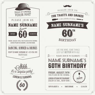 Set of adult birthday invitation vintage design elements