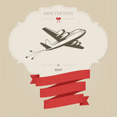 Vintage wedding invitation with retro aircraft — Stock Vector