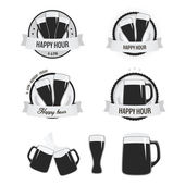 Set of monochrome happy hour labels, badges and beer icons — Stock Vector