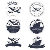 Ročník vzduch a výletní zájezdy etikety a štítky — Stock vektor