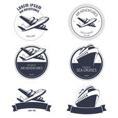 Vintage air and cruise tours labels and badges — Stock Vector