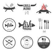 Restaurante menú diseño conjunto de elementos — Vector de stock