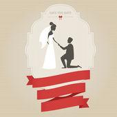 Vintage wedding invitation with bride and groom — Stock Vector