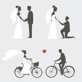 Set of bride and groom poses for wedding invitation — Stock Vector