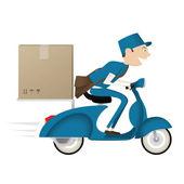Grappige postbode leveren pakket op blauwe scooter — Stockvector