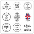 Set of Fish and Chips labels and badges — Stock Vector