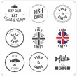 Set of Fish and Chips labels and badges - Imagen vectorial
