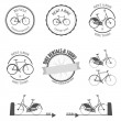 Set of rent a bike labels, badges and design elements — Stok Vektör