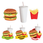 Fast food burger, fries and drink with 3 menu labels — Stock Vector