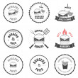 Set of burger and fries restaurant labels, badges and menu design elements — Stok Vektör #20033935