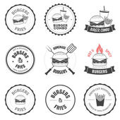 Set of burger and fries restaurant labels, badges and menu design elements — Stockvector