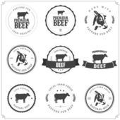 Set of premium beef labels, badges and design elements — Stok Vektör