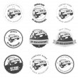 Monochrome off-road adventures labels and badges — Stock Vector