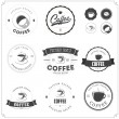 Set of coffee themed monochrome labels — Stockvectorbeeld