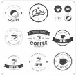 Set of coffee themed monochrome labels — Stock Vector