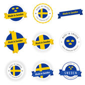Set of Made in Sweden labels and ribbons — Stock Vector