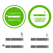 Electronic cigarettes permitted sign with set of icons — Stock vektor