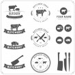 Set of butcher shop labels and design elements - Stock Vector