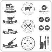 Set van slager winkel labels en ontwerpelementen — Stockvector