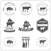 Set of butcher shop labels and design elements — Stok Vektör