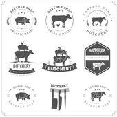肉屋の店ラベルとデザイン要素のセット — ストックベクタ