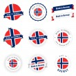 Set of Made in Norway labels and ribbons — Imagens vectoriais em stock
