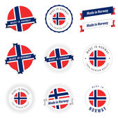 Set of Made in Norway labels and ribbons — Stock Vector
