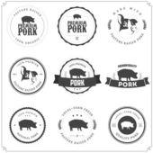 Conjunto de etiquetas de carne de cerdo premium — Vector de stock