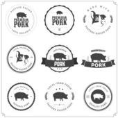 Set of premium pork meat labels — Vector de stock