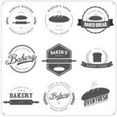 Fırın etiketleri ve tasarım öğeleri kümesi — Stok Vektör