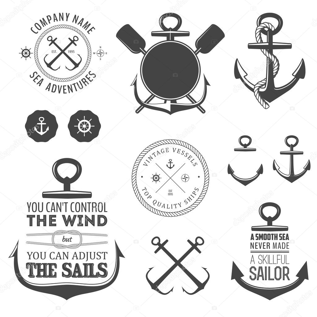Key Elements Of Nautical Style: Set Of Nautical Labels, Icons And Design Elements