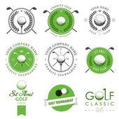 Conjunto de etiquetas de club de golf y emblemas — Vector de stock