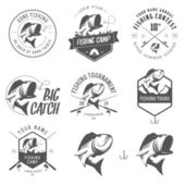 Set of vintage fishing labels, badges and design elements — Vector de stock