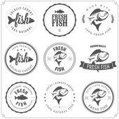Set di fatto con pesce francobolli, etichette e distintivi — Vettoriale Stock