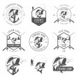 Set of vintage fishing labels, badges and design elements — Stock Vector