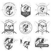Set of vintage fishing labels, badges and design elements — Stok Vektör