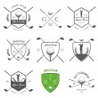 Vector de stock : Set of golf labels, badges and design emblems