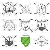 Set di golf etichette, scudetti e progettazione emblemi — Vettoriale Stock