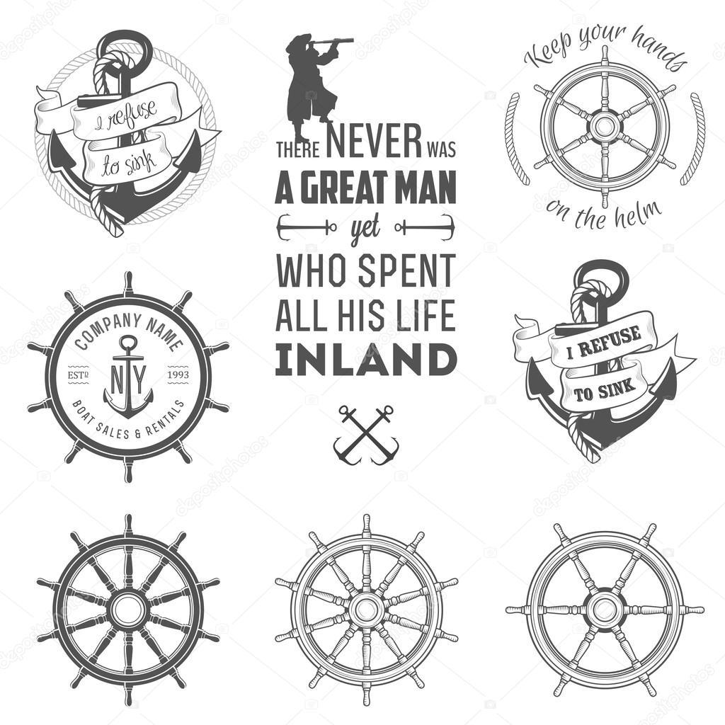 Nautical Font Set of nautical labels,