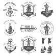 Set of vintage nautical labels, icons and design elements — Stock Vector