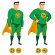 Recycle superhero in green uniform with a cape — Stock Vector
