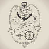 Vintage nautical themed wedding invitation — Vector de stock